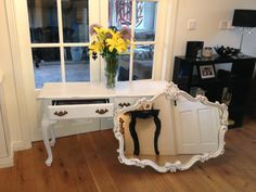 Upcycled console table and mirror painted in Annie Sloan Old White