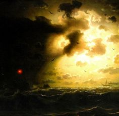 nigra-lux: LARSON, Marcus (1825-1864) Night at sea, detail1858Ed. Orig. Lic. Ed.