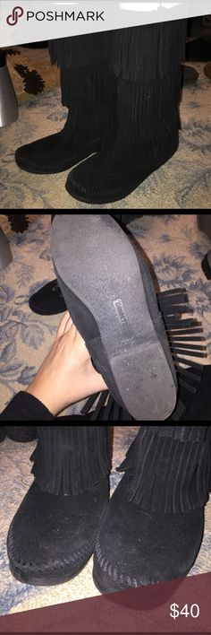 Selling this Minnetonka black fringe boots on Poshmark! My username is: heathervaccaro. #shopmycloset #poshmark #fashion #shopping #style #forsale #Minnetonka #Shoes