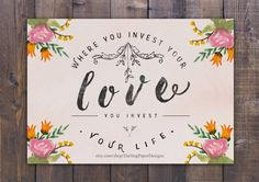 """Where you invest your love, you invest you life"" Mumford and Sons typography poster"