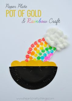I HEART CRAFTY THINGS: Paper Plate Pot of Gold and Rainbow Craft I love rainbows! Sometimes when we see one, my kids and I hypothetically guess where the end of it is and how long it would take us to reach it. Wouldn't that be fun if March Crafts, St Patrick's Day Crafts, Easy Arts And Crafts, Holiday Crafts, Fun Crafts, Holiday Ideas, Craft Projects For Kids, Craft Activities For Kids, Preschool Crafts