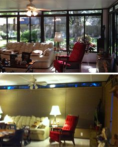 Sunroom before and after Duette Architella Honeycomb Shades. Austin Window Fashions
