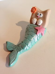 NEW 2013 - Mermaid Kitty Cat Made to Order Figurine Ornament or Magnet  <-- So wants to take Polymer Clay Classes Already ;)  This is soooo cute!