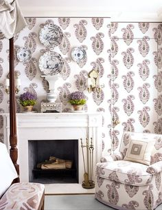 Bedroom Decorating Ideas. Lavender and white paisley print fabric in a bedroom by Cathy Kincaid.