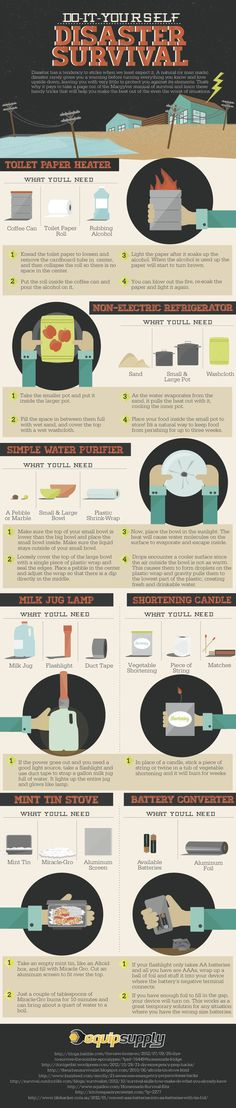Do It Yourself Disaster Survival  #Infographic #DIY #Disaster #SurvivalGuide #Life #infografía
