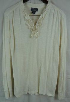 Polo Ralph Lauren Women's Long Sleeve Ruffle V Neck Knit Henley Top Size XL | eBay