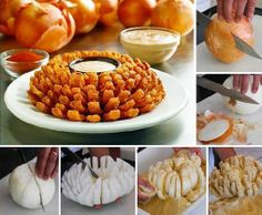 Blooming Onion Recipe // Delicious (and healthy) snack! I Love Food, Good Food, Yummy Food, Blooming Onion Recipes, Appetizer Recipes, Appetizers, Bloomin Onion, Food Porn, Snacks Für Party