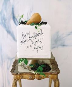 Thank you @type_a_society @veronica_typeasociety for providing new mediums for me to share my lettering! Loving the sweet sentiment on this real cake for their shoot with @abbyjiu @lori_tran @bellavillashop & more at @greenhillwine...full spread in the current issue of @wueditor! { @abbyjiu} #wedding #cake #lettering