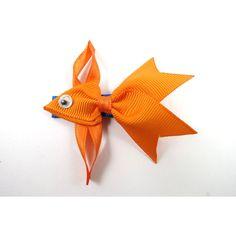 Orange Fish Hair Clip - Ribbon Sculpture - Fish Ribbon Sculpture -... ($4) ❤ liked on Polyvore