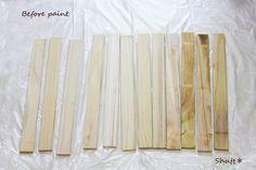 ミニ板壁 :: 2011/11/03(Thu)  昨日セリアで買ったすのこ×3を使って 憧れの板壁を作ることにしました。  写真は すのこの板を分解したところ。すのこ分解 塗装前