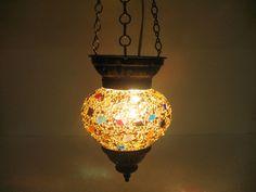 Moroccan lantern mosaic hanging lamp glass chandelier light lampen candle h 120 #Handmade #Moroccan