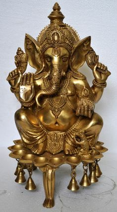 Lord Ganesh Statue sitting on Deepak (oil lamp ) base with bells Rare Figure art | eBay