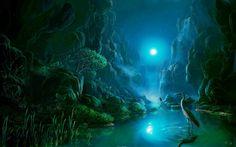 ws_Rocks_Water_Herons_Plants_Moon_1920x1200