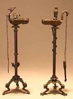 Roman Lamps (Italy) ~ ca.1850 ~ A fine pair of bronze lamps, perhaps modelled on ancient Roman originals. Made in Italy during the 19th century and sold as souveniers of the Grand Tour.