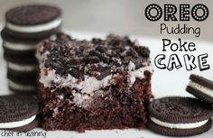 Oreo Pudding Poke Cake! 4 ingredients: cake mix, pudding mix, milk, & oreos for garnish  YUM!
