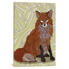 "East Urban Home Foxy Lady Graphic Art on Wrapped Canvas Size: 18"" H x 12"" W x 1.5"" D"