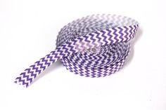 5 yards 5/8  Purple & White Chevron Fold Over by wholesaleflowers, $4.25
