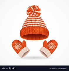 Realistic detailed winter hat and mittens set vector image on VectorStock Paper Clothes, Everyday Objects, Felt Crafts, Clipart, Mittens, Adobe Illustrator, Vector Free, Christmas Cards, Winter Hats