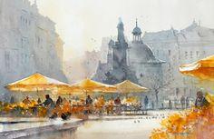 Michał Jasiewicz-30x55 cm Krakow. Floral market on the Main Square