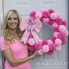 DIY Tutorial for Pink Pom Pom Yarn Wreath for Breast Cancer Awareness by Donna . DIY Tutorial for Pink Pom Pom Yarn Wreath for Breast Cancer Awareness by Donna Wolfe from Naztazia – # Wreath Crafts, Diy Wreath, Yarn Crafts, Diy And Crafts, Pink Crafts, Tulle Wreath, Burlap Wreaths, Fabric Crafts, Breast Cancer Wreath
