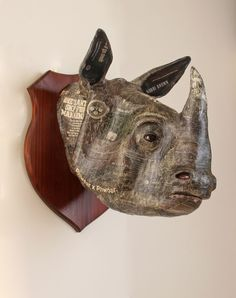 Papier Mache #sculpture by #sculptor David Farrer titled: 'Indian Rhino (Wall Mounted Trophy Head/Bust Papier Mache Mask statues)'. #DavidFarrer
