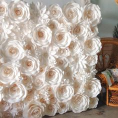 77 piece Set of Handmade Large Paper Flowers (Ivory)