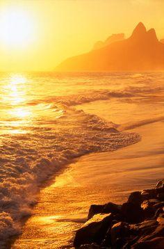 Sunset over the beach at Ipanema in Rio de Janeiro