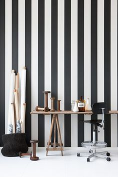 Vertigo wallpaper is a stylish black and white striped wallpaper printed on WallSmart wallpaper (non woven-fleece). It is easier and faster to hang. From the Danish company Ferm Living. Black And White Wallpaper, Striped Wallpaper, Modern Wallpaper, Designer Wallpaper, Black White, Bold Wallpaper, Wallpaper Designs, Wallpaper Decor, Perfect Wallpaper