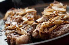 Steak with Bourbon Caramelized Onions
