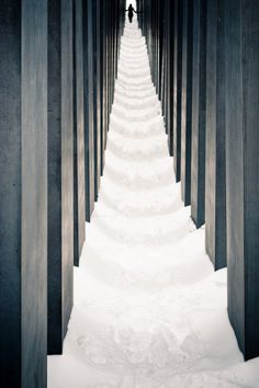 Berlin Holocaust Memorial in snow.