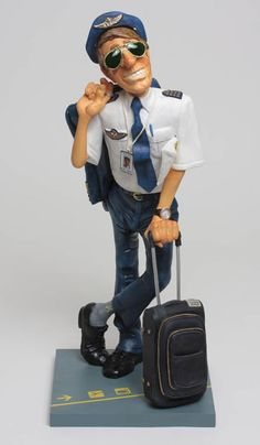 The Airline Pilot Sculpture Statue Figurine by artist Guillermo Forchino. Discover the entire comical art collection at AllSculptures.com