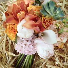 Sweet peaches and desert succulents, a gorgeous bridal bouquet, by yours truly