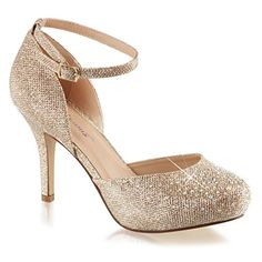 Womens Nude Color Shoes Glitter Pumps Ankle Strap Silver…