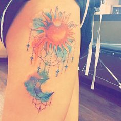 Bohemian Sun and Moon, Water Color Thigh tattoo!