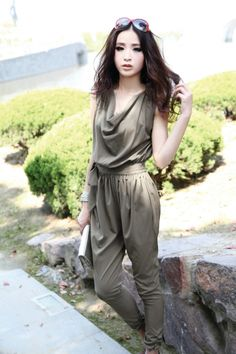 Elegant Sleeveless Jumpsuit With Free Belt YRB 0413 Army Green