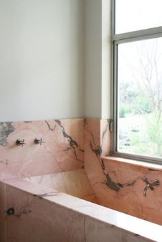 pink marble bath With so many variations on a theme, its not difficult to see how marble patterns continuously evolve. But, seriously who would have thought Id love actual pink marble (in a bath no less) so much House Design, House, Interior, Marble Bath, Marble Tub, House Interior, Bathroom Interior, Modern Spaces, Beautiful Bathrooms