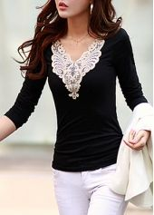 Enchanting V Neck Long Sleeve Woman T Shirt Black