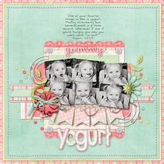 Yummy Yogurt - Scrapbook.com. These colors are fantastic. Love it. #scrapbooking #layouts #baby