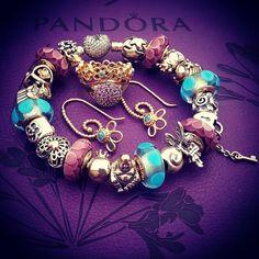 "@charm_crazy on Instagram: ""Purple & blue. I don't do enough silver/two tone combo's, so I did this design today. #pandora #pandorabracelet #retiredpandora #14K…"""