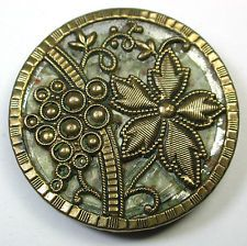 Antique Victorian Celluloid Button Fancy Brass Floral w/Celluloid Liner 1 & 1/4""