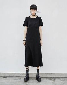 #AdoreWe #VIPme (VIPSHOP Global) PUNK RAVE Black Cut-out Back Casual Long Tee Dress - AdoreWe.com