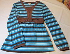 Limited Too long sleeve womens sweater shirt top brown turquoise stripe 20 NWT #LimitedToo #Longsleevesweater #Casual