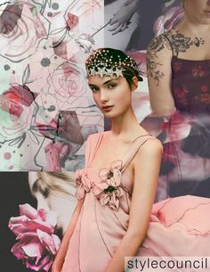 stylecouncil: Graphic Girls : Stenciled, soft flowers are accompanied by inky line work. This board represents a girl with a trendy, beautiful, avant-guard, and feminine style. Add aspirational typography over these delicate florals for a more flirtatious take on this blooming trend.