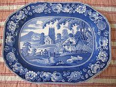 DARK BLUE TRANSFERWARE PLATTER, VILLAGE CHURCH PATTERN, C 1840