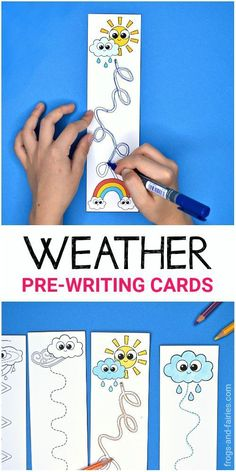 Need a fun pre-writing practice? These cute Weather Pre-Writing Tracing Cards will add excitement and fun to practicing! These hands-on weather-themed printable cards will help your kids develop their Weather Activities Preschool, Preschool Writing, Montessori Activities, Writing Activities, Preschool Activities, Montessori Elementary, Pre Writing Practice, Weather Lessons, Weather Unit