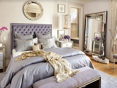 Are you looking for purple bedroom design concepts? Yup, as we already know, you can't never go wrong with purple. Pleased and regal, or soft and wonderful, the variety of purple tones is incomparable. Check out these purple bedroom ideas! Feminine Bedroom, Glam Bedroom, Home Bedroom, Bedroom Ideas, Bedroom Designs, Bedroom Photos, Mirrored Bedroom, Modern Bedroom, Bedroom Mirrors