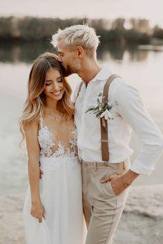 Wedding Dresses – Wedding dress – a unique product by Lenka-Jurigova on DaWanda Wedding Poses, Wedding Suits, Wedding Couples, Wedding Portraits, Wedding Groom, Beach Wedding Attire, Casual Grooms, Casual Groom Attire, Boho Wedding Dress