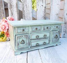 Sage Green SHABBY CHIC Jewelry Box / Dresser by HuckleberryVntg