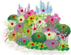A perennial flowering perennial border: 1 larkspur (Delphinium hybr.), 4 sunflowers … - All For Garden Natural Landscaping, Front Yard Landscaping, Landscaping Ideas, Backyard Patio, Inexpensive Landscaping, Modern Landscaping, Arizona Landscaping, Flowers Perennials, Planting Flowers
