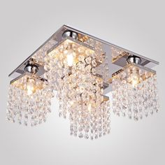 Lightess Crystal Chandelier Ceiling Light Fixture Modern Flush Mount Pendant Hanging Lighting 5 Lights - - Amazon.com